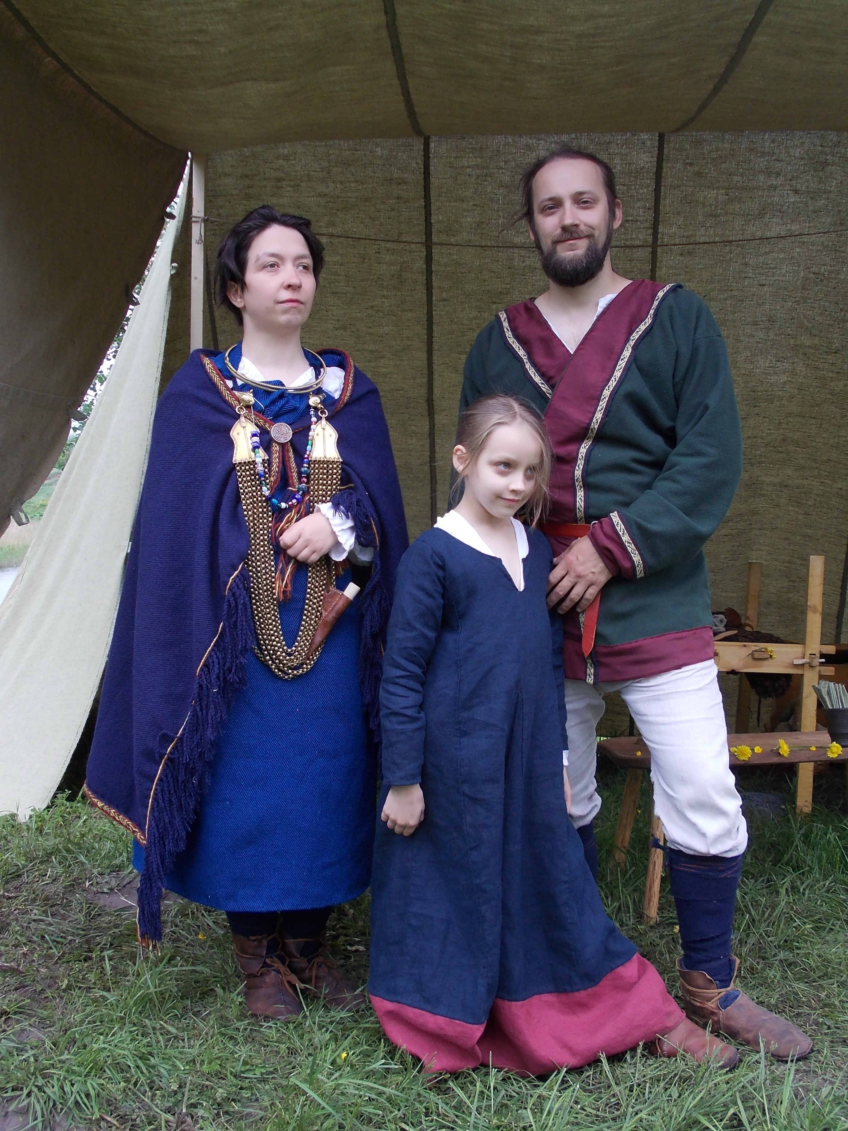 Recreation of a 7th century costumes from Scandinavina colony in Seeburg