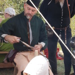 Peter Johnsson demonstrating how to assemble 14th century sword.